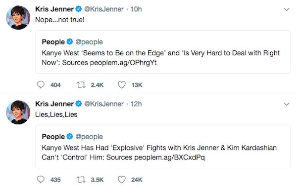 A mensagens de Kris Jenner negando as informações divulgadas pela revista People (Foto: Twitter)