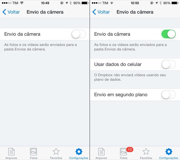 Configurando o envio da câmera no iOS (Foto: Reprodução/Helito Bijora)  (Foto: Configurando o envio da câmera no iOS (Foto: Reprodução/Helito Bijora) )