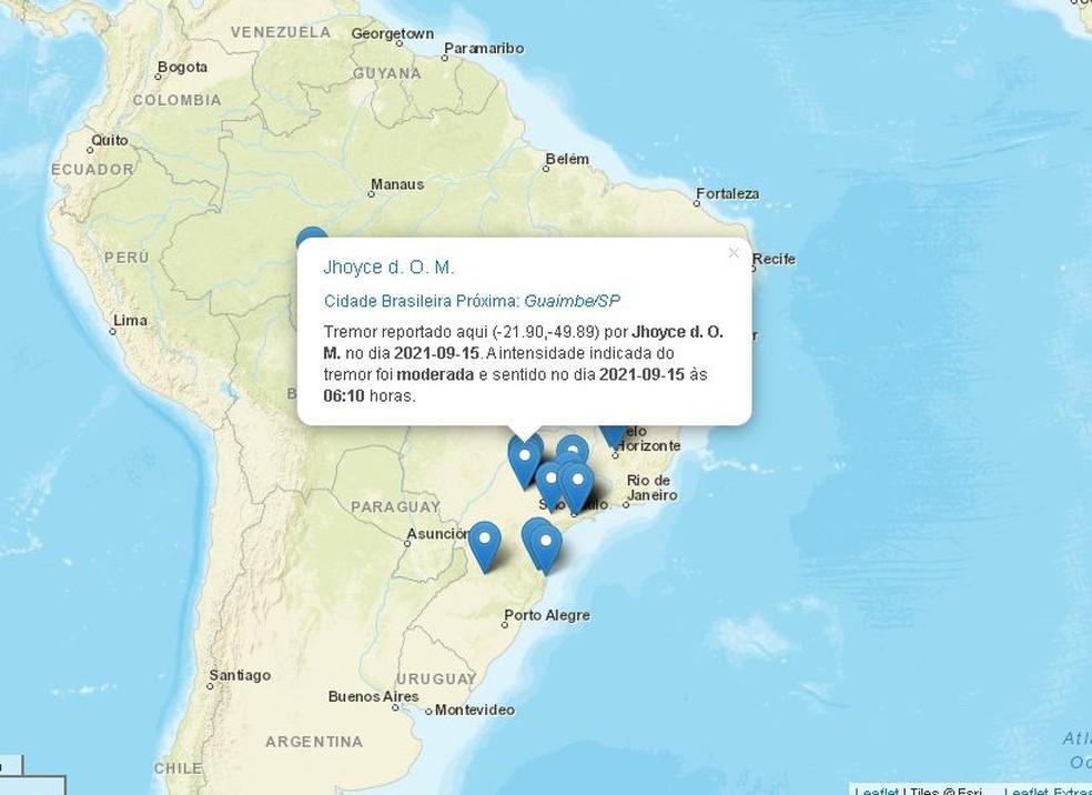 Moradora relatou tremor de terra de intensidade moderada em Guaimbê no site do Centro de Sismologia — Foto: Centro de Sismologia da USP/ Reprodução
