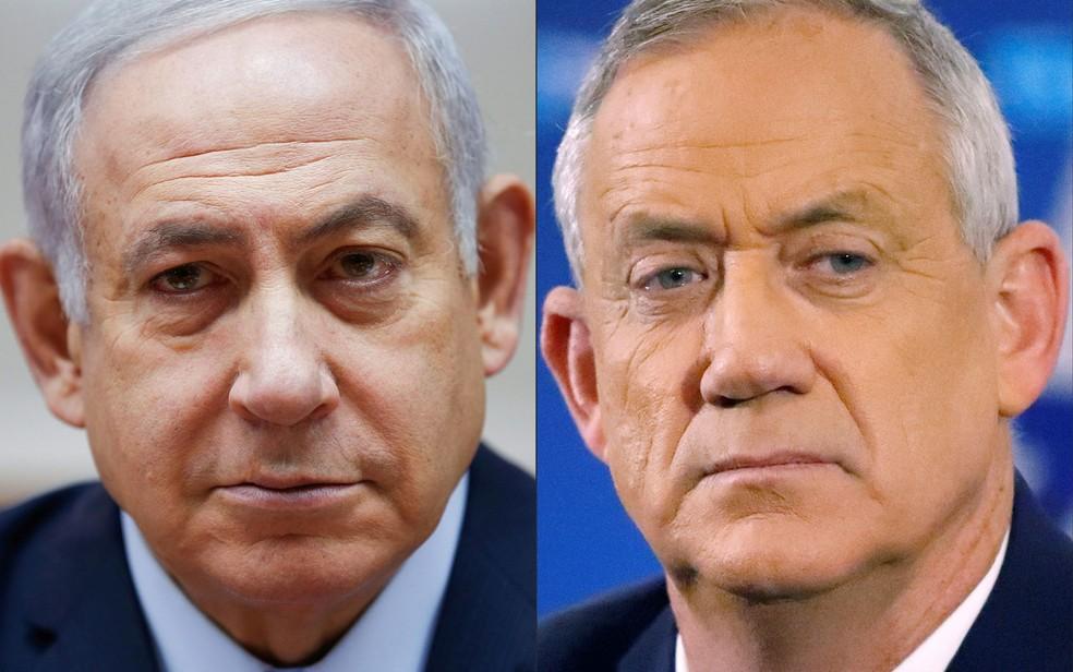 Benjamin Netanyahu, do Likud, e Benny Gantz, do Azul e Branco, candidatos ao cargo de primeiro-ministro de Israel — Foto: Jack Guez, Oded Balilty / AFP