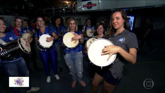 Acadêmicos do Tatuapé terá time de mulheres tocando cuíca na bateria para buscar o tri no carnaval de SP