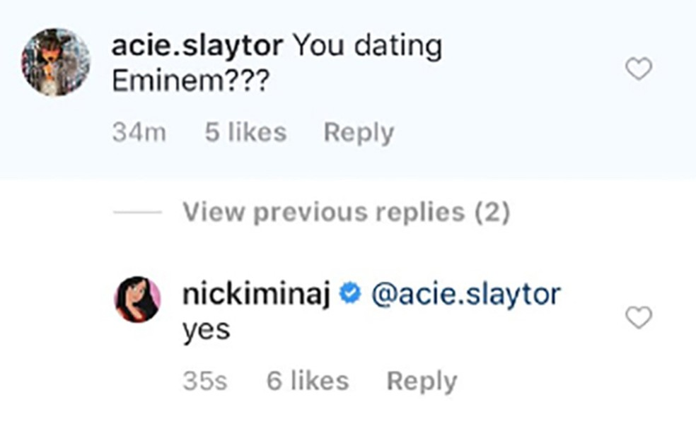 Nicki Minaj confirma namoro com Eminem no Instagram (Foto: Reprodução/Instagram/Nicki Minaj)