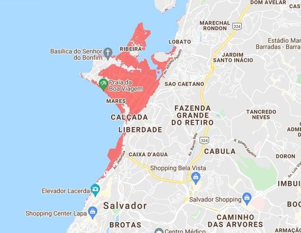 Mapa que mostra áreas de Salvador submersas em 2030 causa preocupação em rede social (Foto: Reprodução/Climate Central)