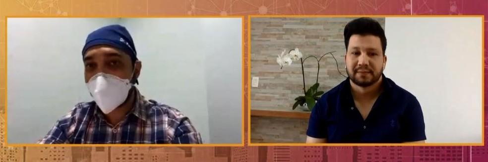 Fernando Máximo é médico e acompanha de perto o caso de saúde do irmão, o cantor Cauan. Cleber, que faz dupla com o sertanejo, é amigo do cantor desde a infância — Foto: Globo