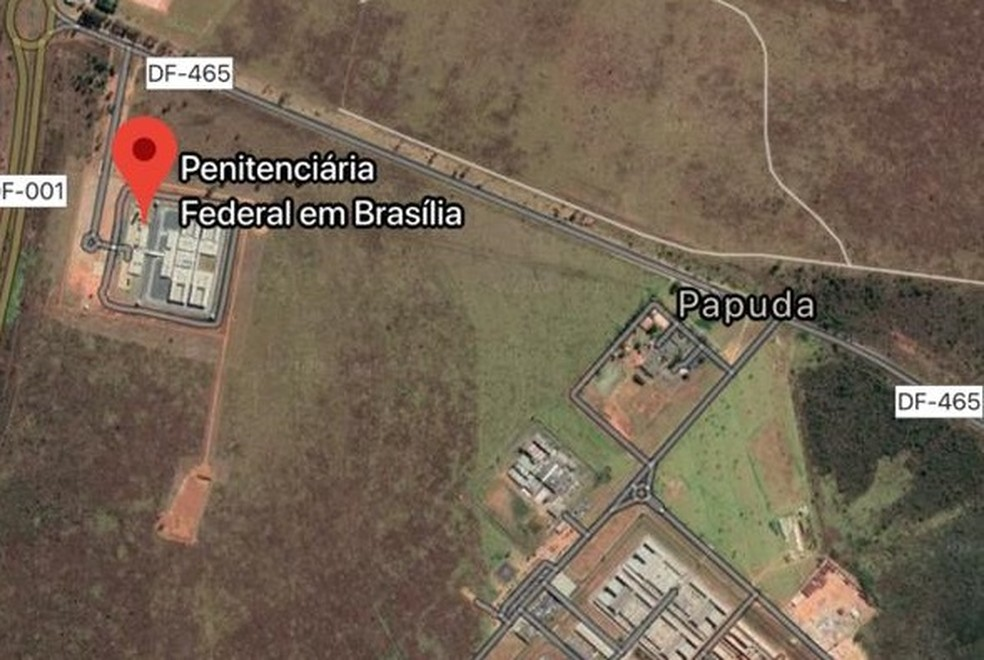 Localização da Penitenciária Federal e do Complexo Penitenciário da Papuda, no Distrito Federal — Foto: Google Maps/Reprodução