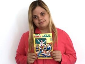 Tathiana Piancastelli, atriz com síndrome de Down, em quadrinho do Maurício de Sousa (Foto: Tathiana Piancastelli/Arquivo pessoal)