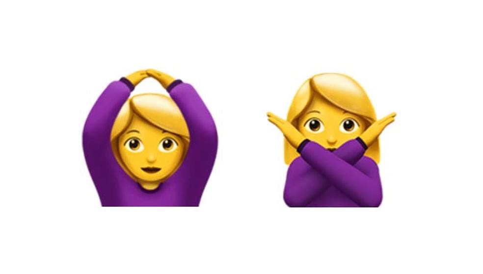 Estes emojis não representam um movimento de dança, mas ok e não, respectivamente (Foto: Reprodução/ Emojipedia)