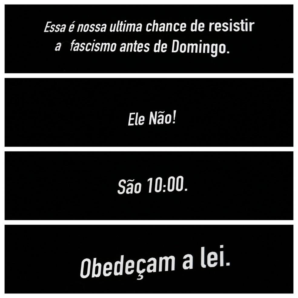 Mensagens exibidas no telão do show de Roger Waters em Curitiba, neste sábado (27) — Foto: Giuliano Gomes/PR PRESS