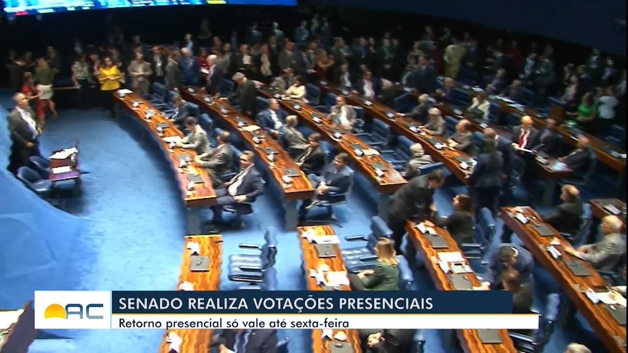Após 6 meses com sessões remotas, votações presenciais são retomadas no Senado
