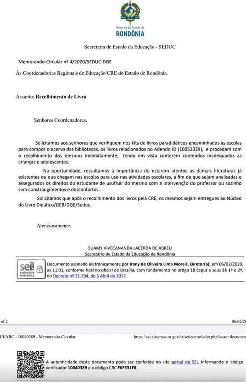 Por meio de ofício, Seduc solicita recolhimento imediato de 43 livros da rede de ensino de Rondônia.  — Foto: Reprodução/Seduc