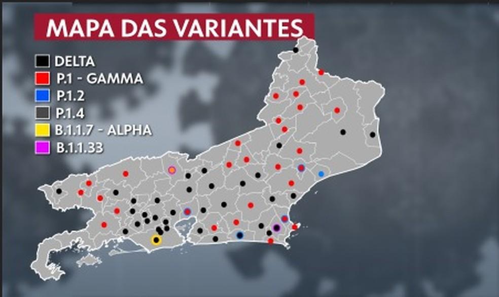 Mapa das variantes no RJ mostra, em preto, que a delta já é predominante em 30 municípios — Foto: Reprodução/TV Globo