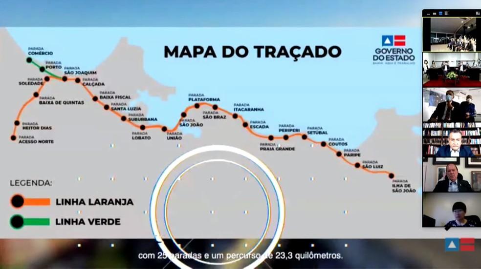 Mapa de traçado do VLT do Subúrbio — Foto: Reprodução