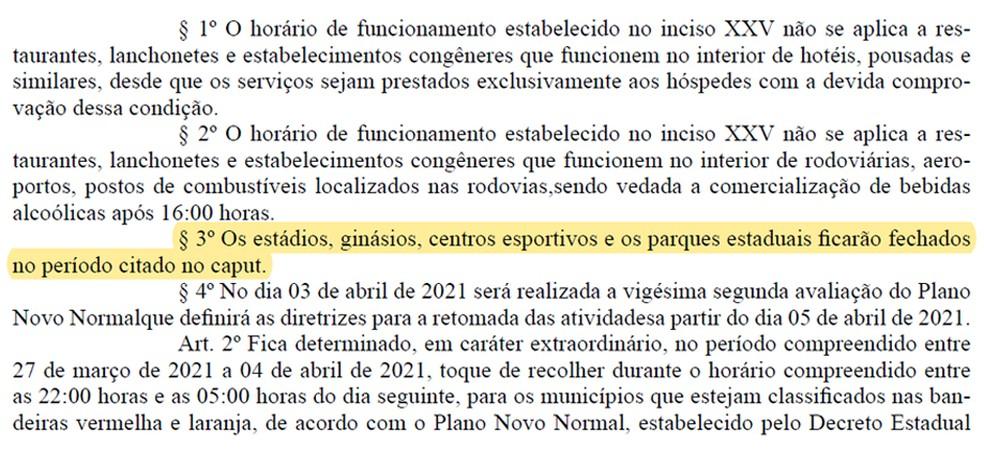 Decreto liberado nesta sexta-feira passa a valer a partir deste sábado — Foto: Reprodução / Diário Oficial do Estado da Paraíba