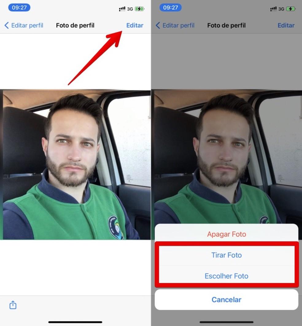 É possível tirar uma foto ou escolher na galeria para mudar o perfil do WhatsApp — Foto: Reprodução/Helito Beggiora