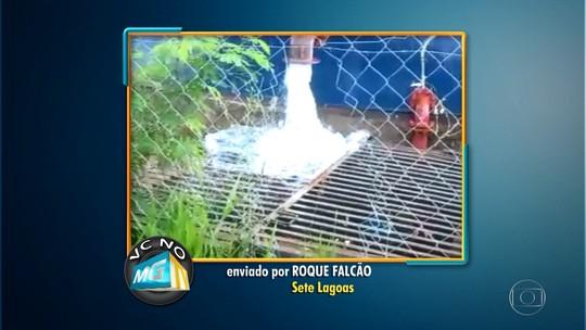 Morador filma desperdício de água em reservatório de Sete Lagoas