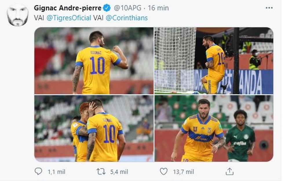 Gignac provoca o Palmeiras em rede social — Foto: Reprodução