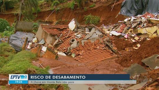 Chuva aumenta cratera de terreno e interdita mais casas em Monte Belo, MG