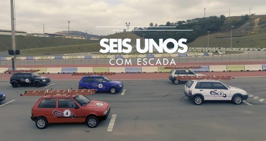 Fiat promove uma 'corrida oficial' de Unos com escada (Foto: Reprodução/FCA)