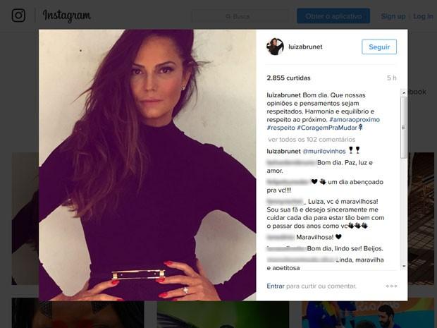 Em seu Instagram, Luiza Brunet recebe elogios dos fãs; apesar disso, modelo relatou ter sido ofendida por comentários de algumas pessoas (Foto: Reprodução/Instagram)