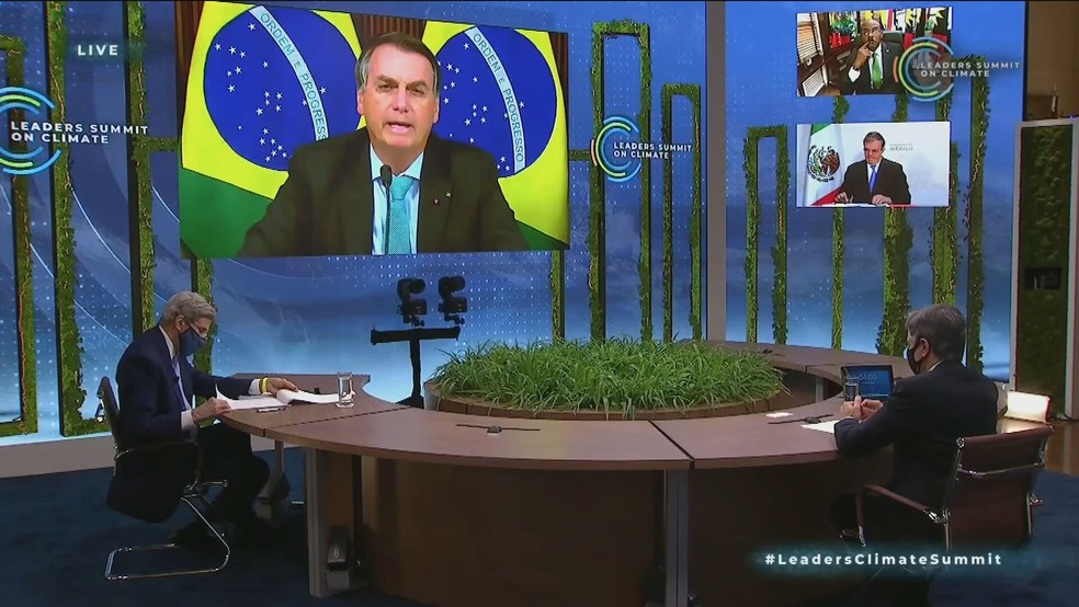Biden não assiste ao discurso de Bolsonaro na Cúpula do Clima — Foto: Reprodução/GloboNews