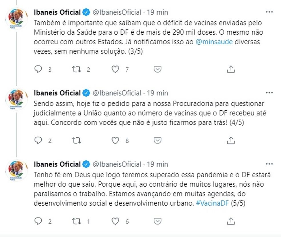 Governador do DF, Ibaneis Rocha, comenta em rede social sobre déficit de vacinas na capital federal.  — Foto: Twitter/Reprodução