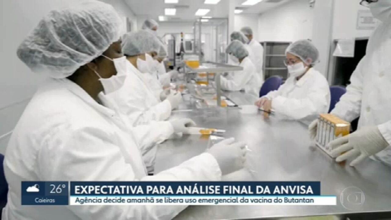 Anvisa decide neste domingo (17) se libera ou não uso emergencial da Coronavac no Brasil