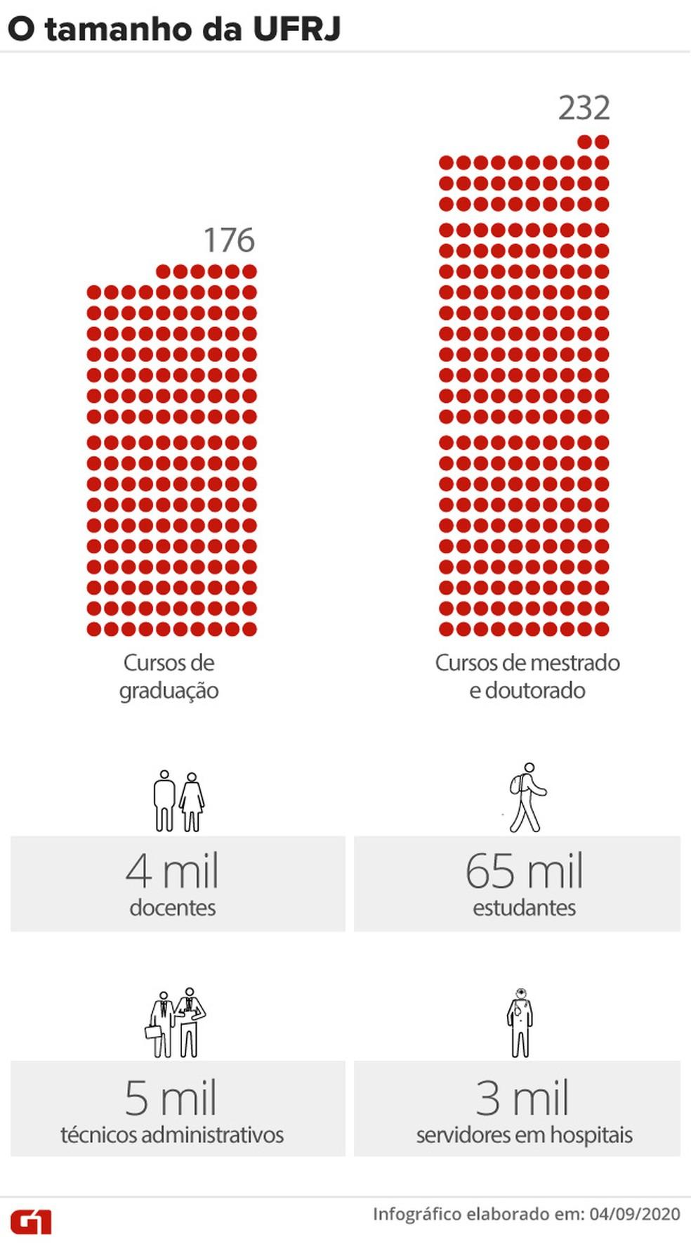 O tamanho da UFRJ — Foto: Aparecido Gonçalves/ Infografia G1