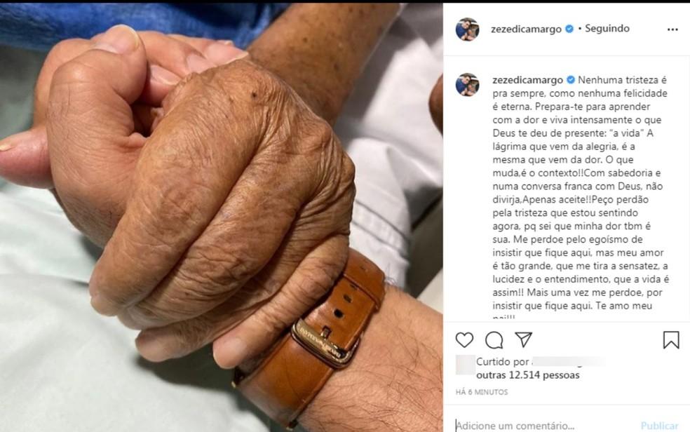 Zezé di Camargo lamenta a morte do pai, em Goiânia — Foto: Reprodução Instagram