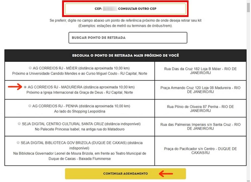 Escolha do endereço para retirada do kit de conversão para TV digital (Foto: Reprodução/Raquel Freire)