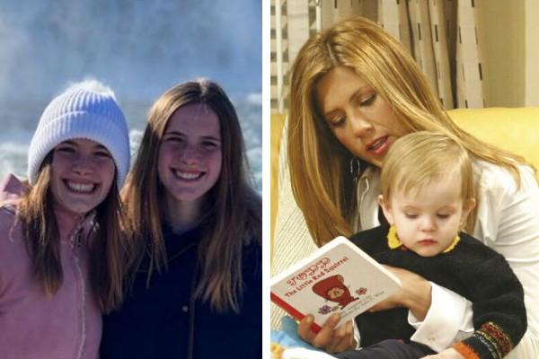 As gêmeas Sheldon e cena de Friends com Rachel (Jennifer Aniston) segurando Emma (Foto: Reprodução / Instagram; Divulgação)