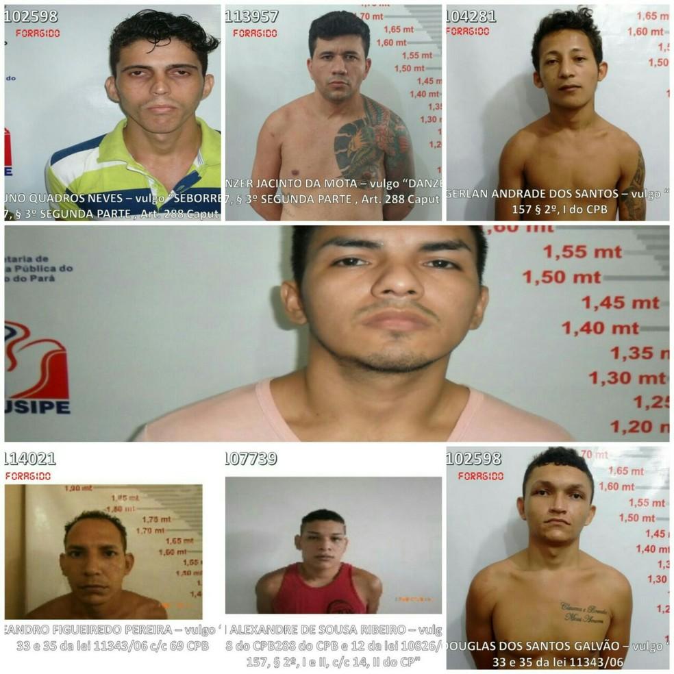 -  Os sete foragidos estão sendo procurados pela Polícia Militar  Foto: Divulgação/PM