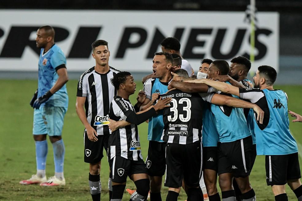 Pedro Castro comemora gol contra o Nova Iguaçu com companheiros de Botafogo — Foto: Thiago Ribeiro/AGIF