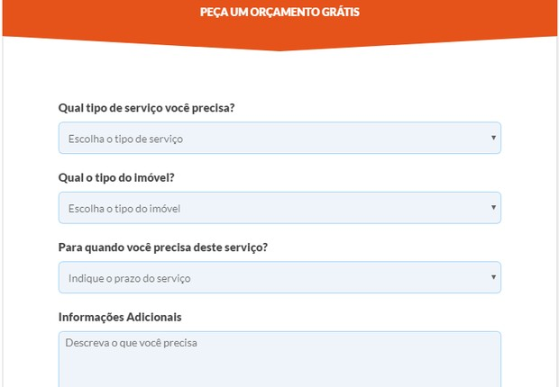 Preenchendo alguns campos, o usuário recebe até três orçamentos para o serviço desejado (Foto: Reprodução)