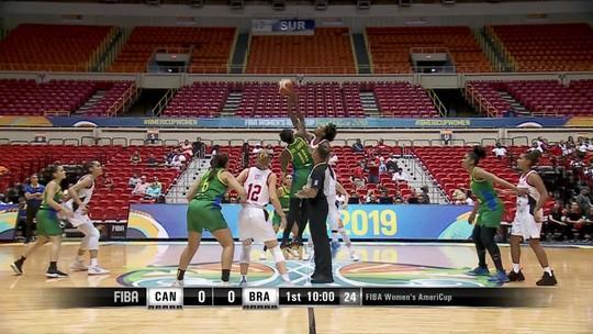 Melhores momentos de Canadá 66 x 58 Brasil na semifinal da Copa América de Basquete feminino