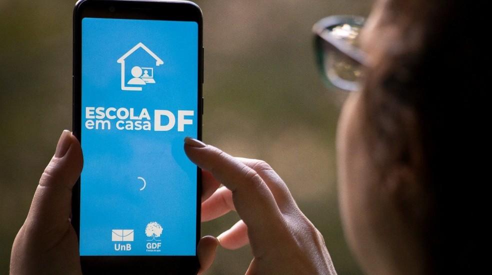 Aplicativo Escola em Casa DF, plataforma de aulas online na rede pública de ensino — Foto: Álvaro Henrique/SEEDF