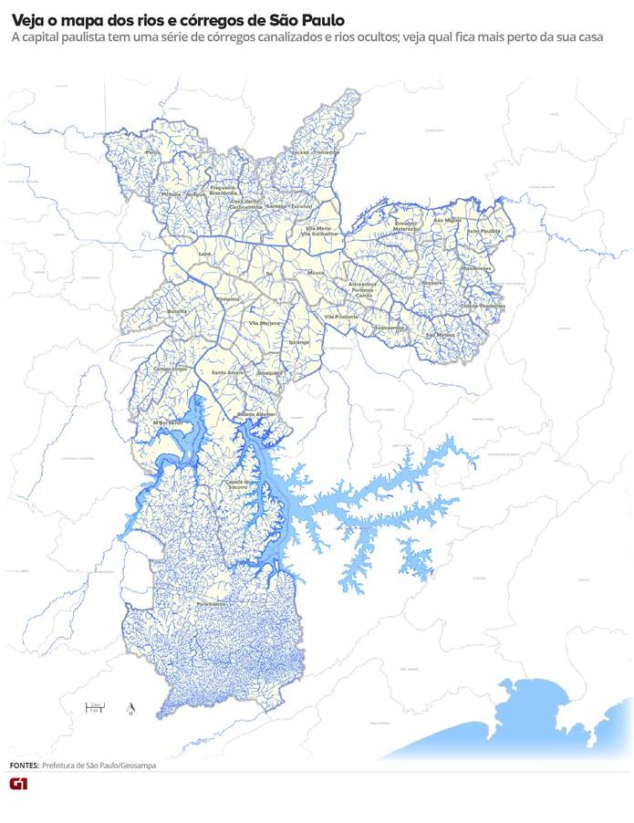 Mapa Mostra Rios E Corregos De Sao Paulo Rios De Sao Paulo G1