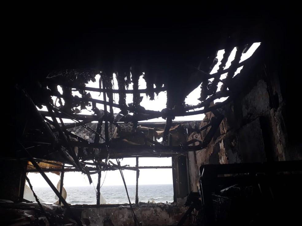 Área interna do hotel atingido por incêndio — Foto: Divulgação/Codesal