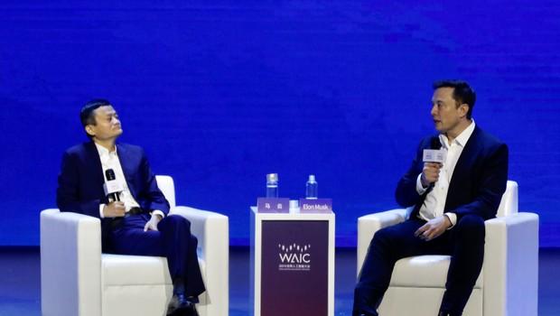 Jack Ma e Elon Musk, durante a Conferência Mundial de Inteligência Artificial (Foto: Getty Images)
