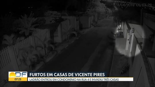 Câmeras flagram homem assaltando três casas em duas horas no DF; veja vídeo