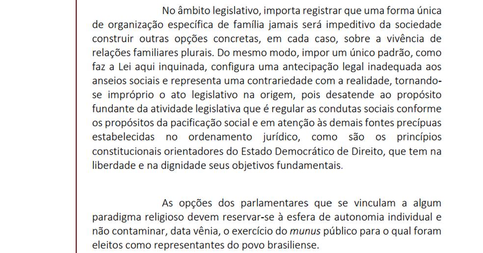 Trecho de ação direta de inconstitucionalidade protocolado no STF contra o Estatuto da Família (Foto: Reprodução)