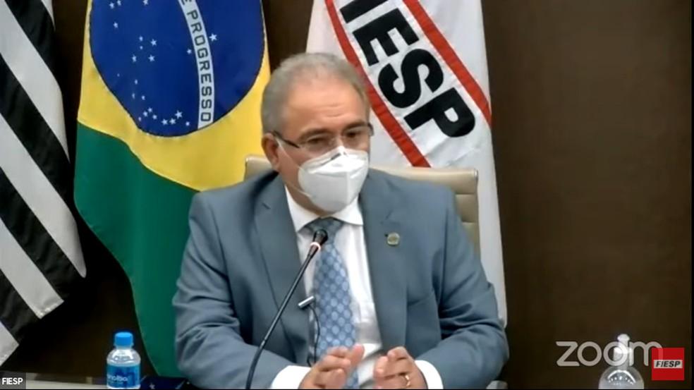 Ministro da Saúde, Marcelo Queiroga, em encontro na Fiesp, em São Paulo, na manhã desta segunda, 3 de maio — Foto: Reprodução/Youtube