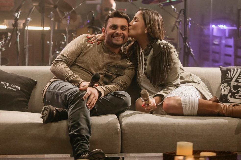 Claudia Leitte e Mano Walter nos bastidores da gravação do clipe da música 'Matutinha' — Foto: Sercio Freitas