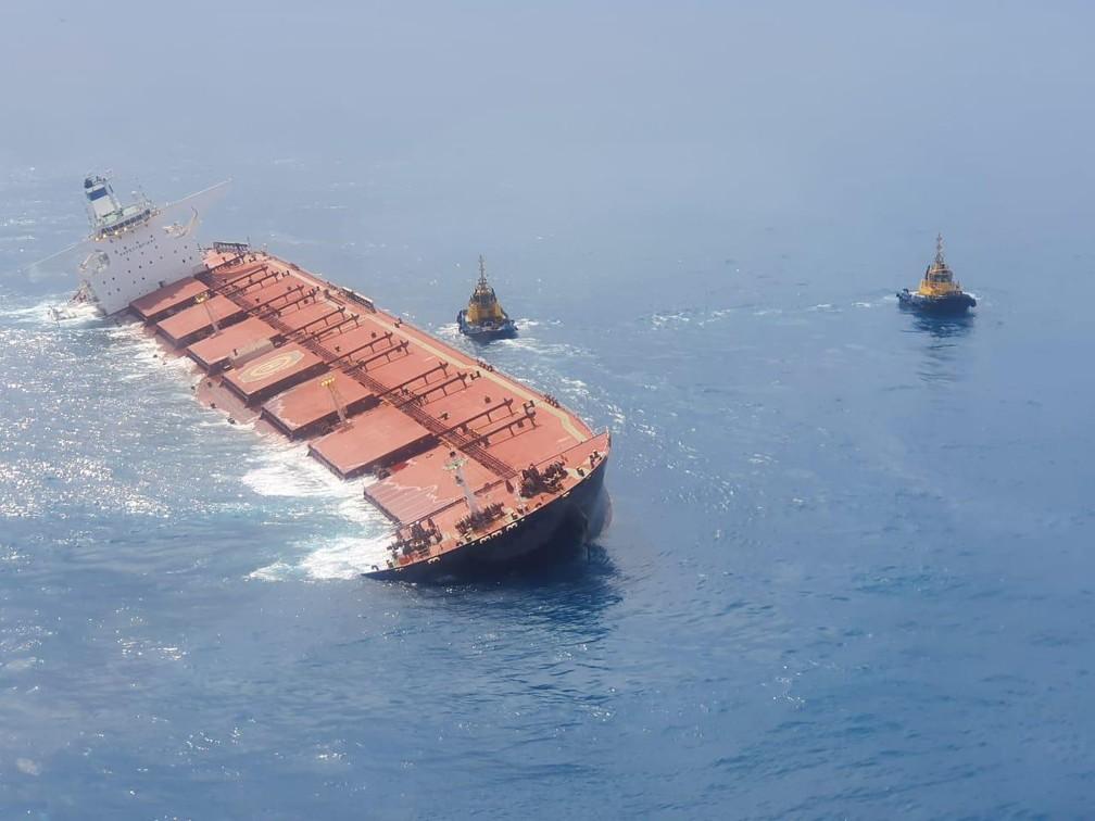 Navio Stellar Banner sofre fissura no casco no meio do Oceano Atlântico — Foto: Divulgação