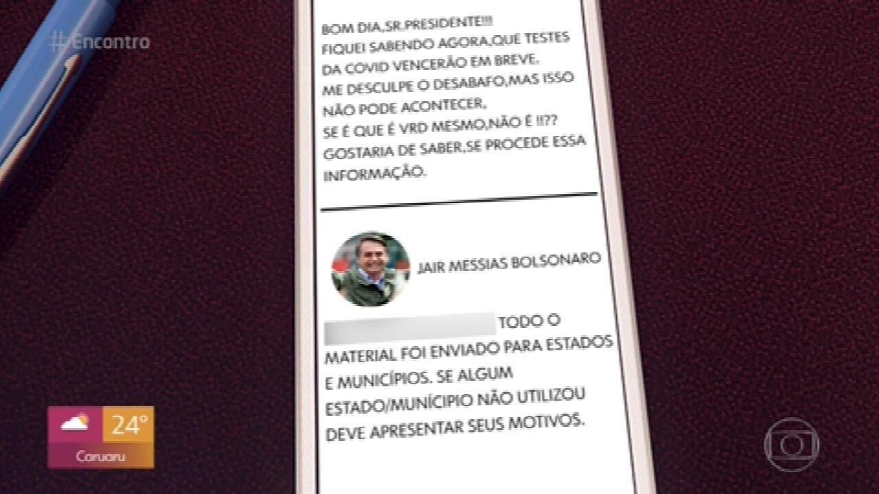 Bolsonaro diz que se testes encalharam é culpa de estados e municípios