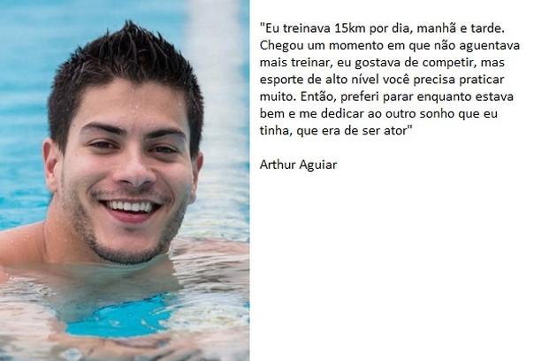 Arthur Aguiar chegou a ser vice-campeão brasileiro de natação. Em entrevista ao Gshow, ele falou sobre a relação com o esporte (Foto:  Isabella Pinheiro / Gshow)