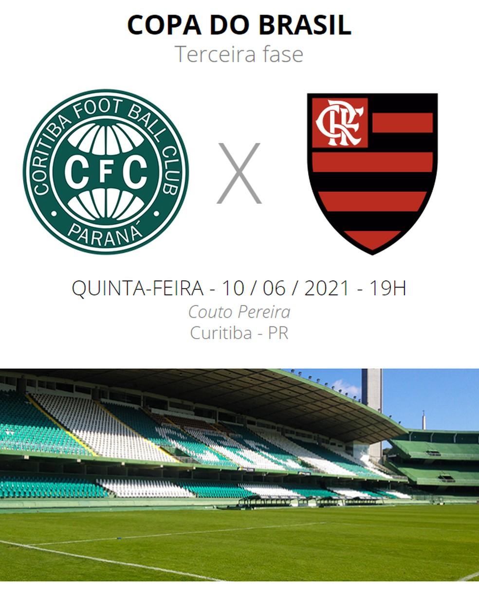 Coritiba x Flamengo: veja onde assistir, escalações, desfalques e  arbitragem   copa do brasil