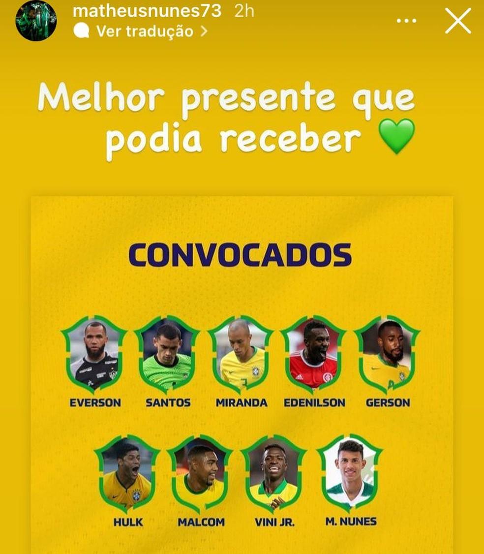 O jogador do Sporting comemorou a convocação para a seleção brasileira em dois posts nos stories do Instagram — Foto: Reprodução