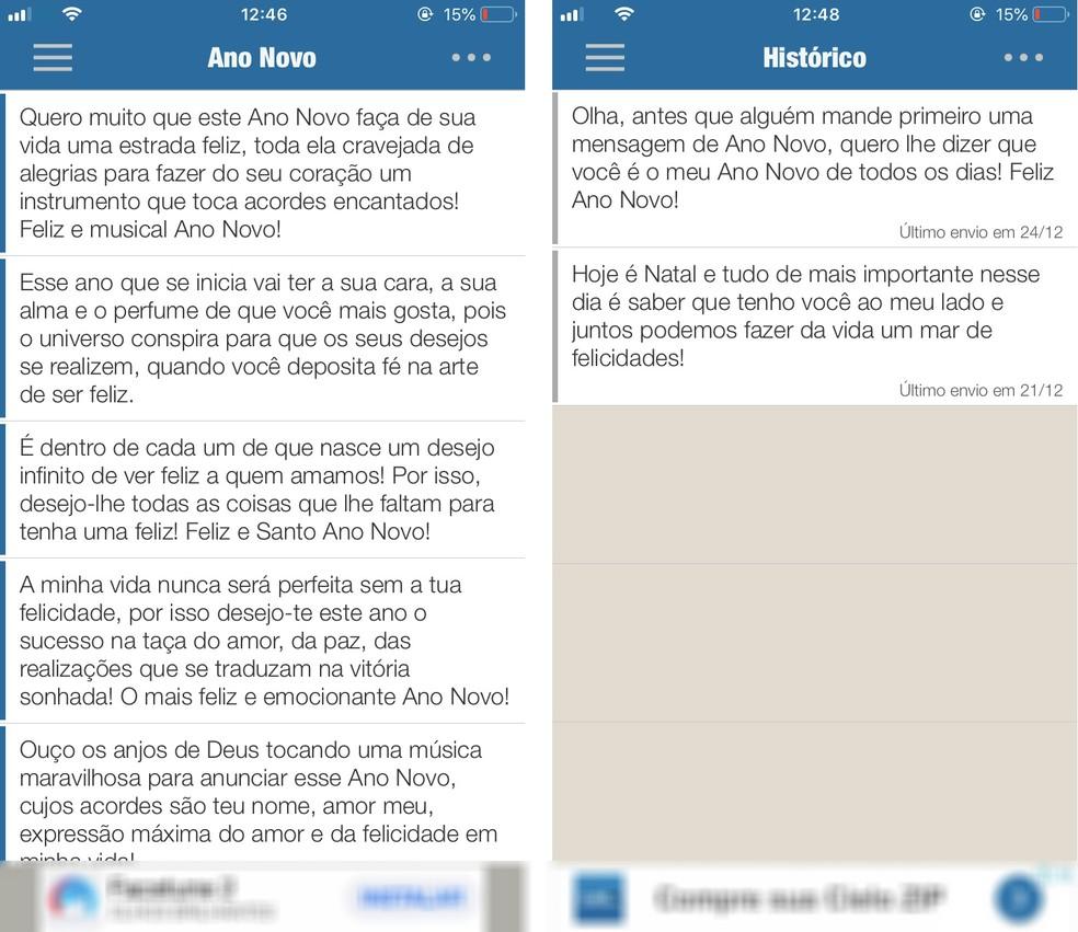 No aplicativo Mensagens Bonitas e Prontas, o usuário encontrará frases de efeito para enviar aos amigos no Ano Novo — Foto: Reprodução/Rodrigo Fernandes