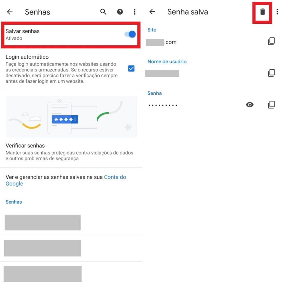 Excluindo logins e senhas salvos no Chrome  — Foto: Reprodução/Clara Fabro