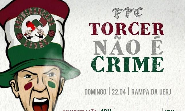 Cartaz convoca para ato antes de jogo Fluminense x Cruzeiro
